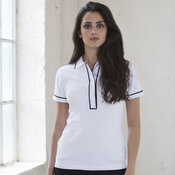 Women's contrast piped polo shirt