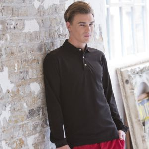 Long sleeve cotton polo shirt Thumbnail
