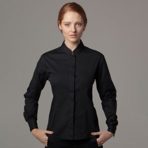 Women's bar shirt mandarin collar long sleeve (tailored fit) Thumbnail