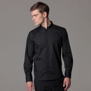 Bar shirt mandarin collar long sleeve (tailored fit) Thumbnail