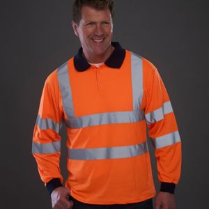 Hi-vis long sleeve polo (HVJ310) Thumbnail